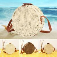 Fashion Bucket Beach Straw Woven Bags Summer Round Rattan Wicker Basket Handbag