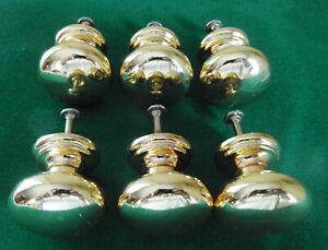Lot de 6 boutons de porte et tiroir de meuble en laiton poli de Ø35 mm