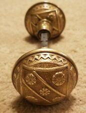 2 Antique Victorian Eastlake Solid Brass Door Knobs Set #3