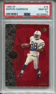 1996 SP Football #18 Marvin Harrison Rookie Card RC Graded PSA Gem Mint 10 Colts