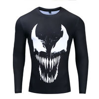 Men Tee T-Shirt Tights 3D Printed Venom Long Sleeve Gym Fitness Cycling Tops