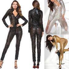 Womens Sexy Lingerie Catsuit Playsuit Zip Up Jumpsuit Clubwear Party Bodysuit UK