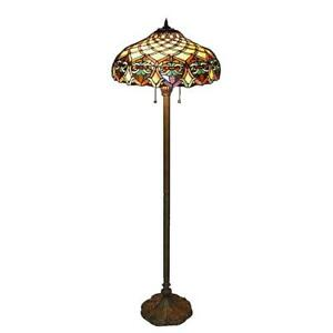 Serena Ditalia Bronze Floor Lamp 60 in. Tiffany Style Stained Mosaic Shades
