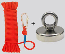 Upto 1900Lb Fishing Magnet Kit Strong Neodymium Pull Force with Rope & Carabiner