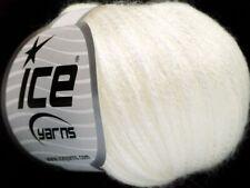 Ice ROCK STAR Yarn #52016 WHITE SOFT & SHINY Merino Wool Blend + METALLIC