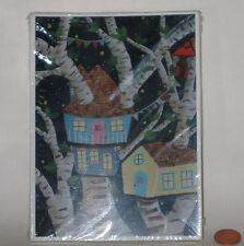 Set/34 PAPER TAXI WHIMSICAL TREE HOUSE Greeting Cards -Blank -Laura Warecki -NEW