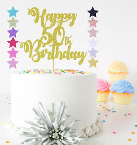 Happy Birthday ANY AGE 30th 50th 70th 80th 90th ETC Glitter Cake Topper Decor