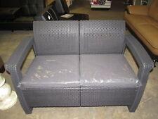 Keter Corfu Love Seat All Weather Outdoor Patio Garden Furniture w/ Cushions