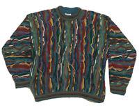 VTG 90s COOGI Australia Hip hop BIGGIE sweater Vaporwave raised 3d Sz XL EUC