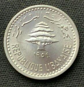 1954 Lebanon 5 Piastre Coin GEM UNC     World Coin Aluminum    #C474