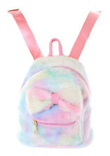 LB-7034 Colourful Plush Bow Small Leisure Backpack Bag Pastel Goth