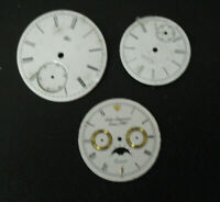Lot of 3 Vintage Porcelain on Silver Pocket Watch Faces Waltham Jurgensen LCW