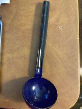"""Vintage Cobalt Blue and Black Enamel Water Butter Dipper Ladle 12"""""""