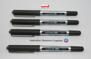 4 x BLACK Uniball Eye Micro Pen 0.5mm S/Steel Tip Capped UB150 in stock