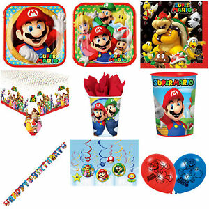 Super Mario Bros Party Supplies Plates Cups Hanging Decorations Balloons Candles