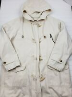 Eddie Bauer vintage Womens Cotton Canvas jacket coat parka hooded beige large HU