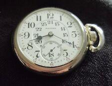 Waltham Appleton Tracy 17 JEWELS Sidewinder 18S Pocket Watch Running 24 Hr Dial