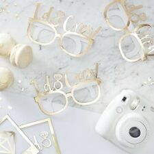 Gold I Do Crew Glasses Hen Party Photo Booth Props Team Bride Selfie Props x 8