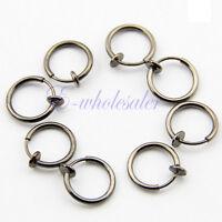 Clip On Fake Piercings 8 Rings Ear Nose Lip Fancy Hoop Earrings Black 13mm CG
