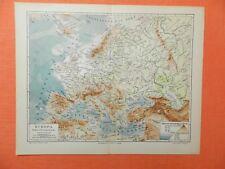EUROPA Flüsse Gebirge physikalische Höhen -/ Tiefenschichten LANDKARTE von  1906