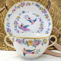 Vintage Dresden USA Double Handle Tea Cup & Saucer Set. Colorful Birds & Flowers