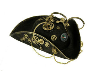 Black and Gold Steampunk Pirate Hat Adult Halloween Costume Accessory