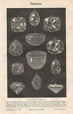 B0875 Diamanti - Xilografia d'epoca - 1890 Vintage engraving