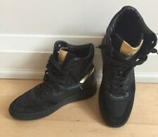 HOGAN Women's Black & Gold Leather Suede Branded High Tops Sneakers  sz 36 Italy