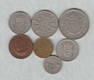 1959 ELIZABETH II SET OF 7 COINS IN VERY FINE OR BETTER CONDITION