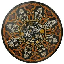 "36"" Round Marble Black Dining Table Top Pietra Dura Inlay Design Home Decor E493"