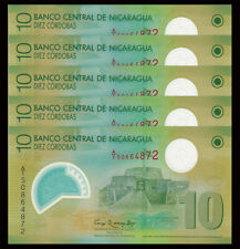 Lot 5 PCS, Nicaragua 10 Cordobas, 2007,  P-201, Polymer, UNC