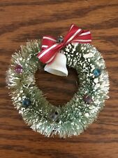 Vintage Bottle Brush Christmas Wreath with Snow, Beads, Red Ribbon & Bell