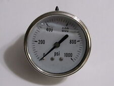 New Hydraulic Liquid Filled Pressure Gauge 0 1000 Psi 14 Npt Cbm 25 Face