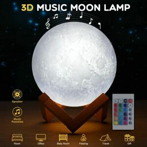 Music Moon Lamp 3D Print Colorful Bluetooth Rechargeable Night light