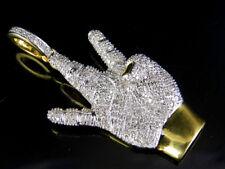"Men's 10K Yellow Gold West Side Hand Genuine Diamond Pendant Charm 1.0 CT 1.5"""
