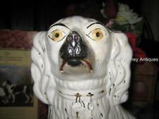 "Large 14"" Antique White Staffordshire Spaniel Dog Original Paint Great Features"