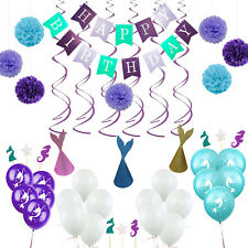 Happy Birthday Banner Balloons Cupcake Topper Mermaid Hat Party Decoration Kit