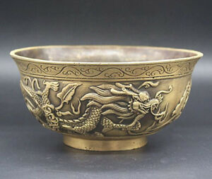 Chinese Old brass Hand-Carved dragons bowl craft statue YRR