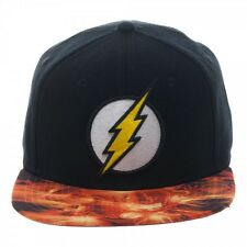 DC COMICS THE FLASH LOGO BLACK SUBLIMATED BILL SNAPBACK HAT CAP ADJUSTABLE RETRO