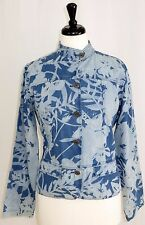 Chicos Jean Jacket 1 8 M Blue Denim Floral Peplum Raised Top Stitch Pattern