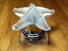 LALIQUE FRENCH ART GLASS STARFISH PAPERWEIGHT ON ART DECO LUCITE AND CHROME BASE