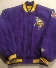 Vintage MINNESOTA VIKINGS STARTER Satin Nylon Jacket Coat NFL Men's Large