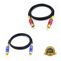 SPDIF RCA to RCA Coaxial Audio Cable Cord Male-Male Subwoofer Gold Plated 1m-5m