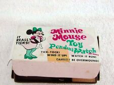 1973 Marx Minnie Mouse Wind Up Pendant Watch on Necklace Made Japan Mint In Box