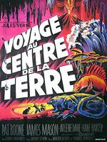 Affiche Pliée 40x60cm VOYAGE AU CENTRE DE LA TERRE 1959 Levin, James Mason R BE