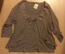 NEW UK16 M&S 3/4 Sleeve Top Blouse Stretch Viscose Brown Fake Cardigan BNWT