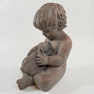 Austin Productions Sculpture PLAYMATES Boy Child w/ Bunny Rabbit Musulin 1972