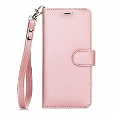Apple iPhone 6S+ Leather Wallet Case Flip Folio Kickstand Wrist Strap Rose Gold