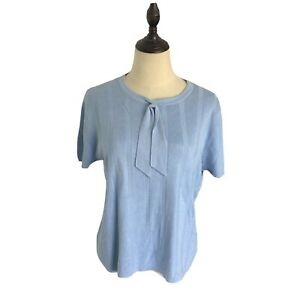 Brooks Brothers Blue Short Sleeve Knit Sweater Top Blouse Pussy Bow Ribbed L