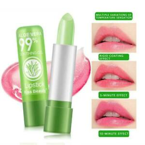 Aloe Vera Lipstick Lip Balm Color Mood Changing Long Moisturizing Women N7K9